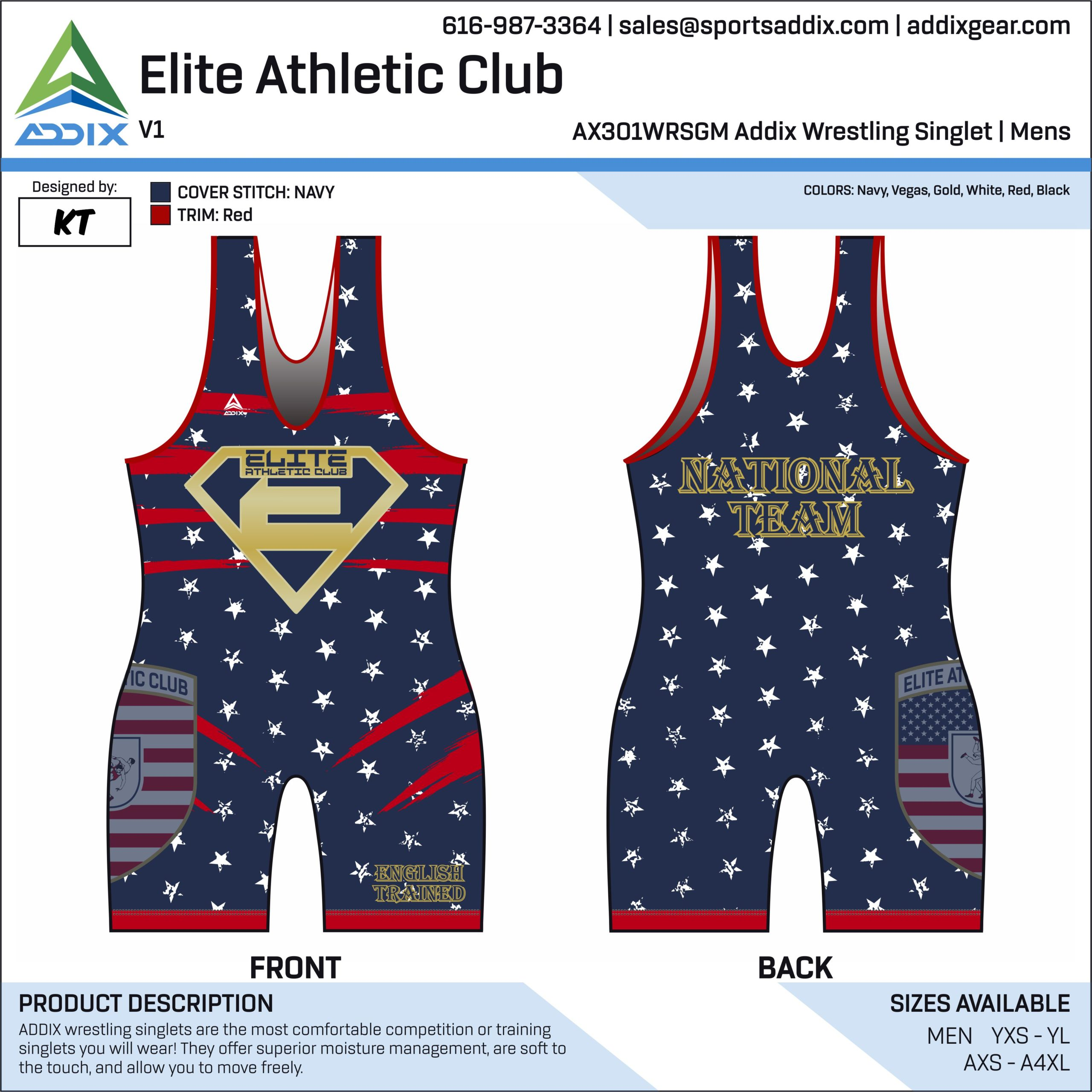 Elite Athletic Club Wrestling Singlet