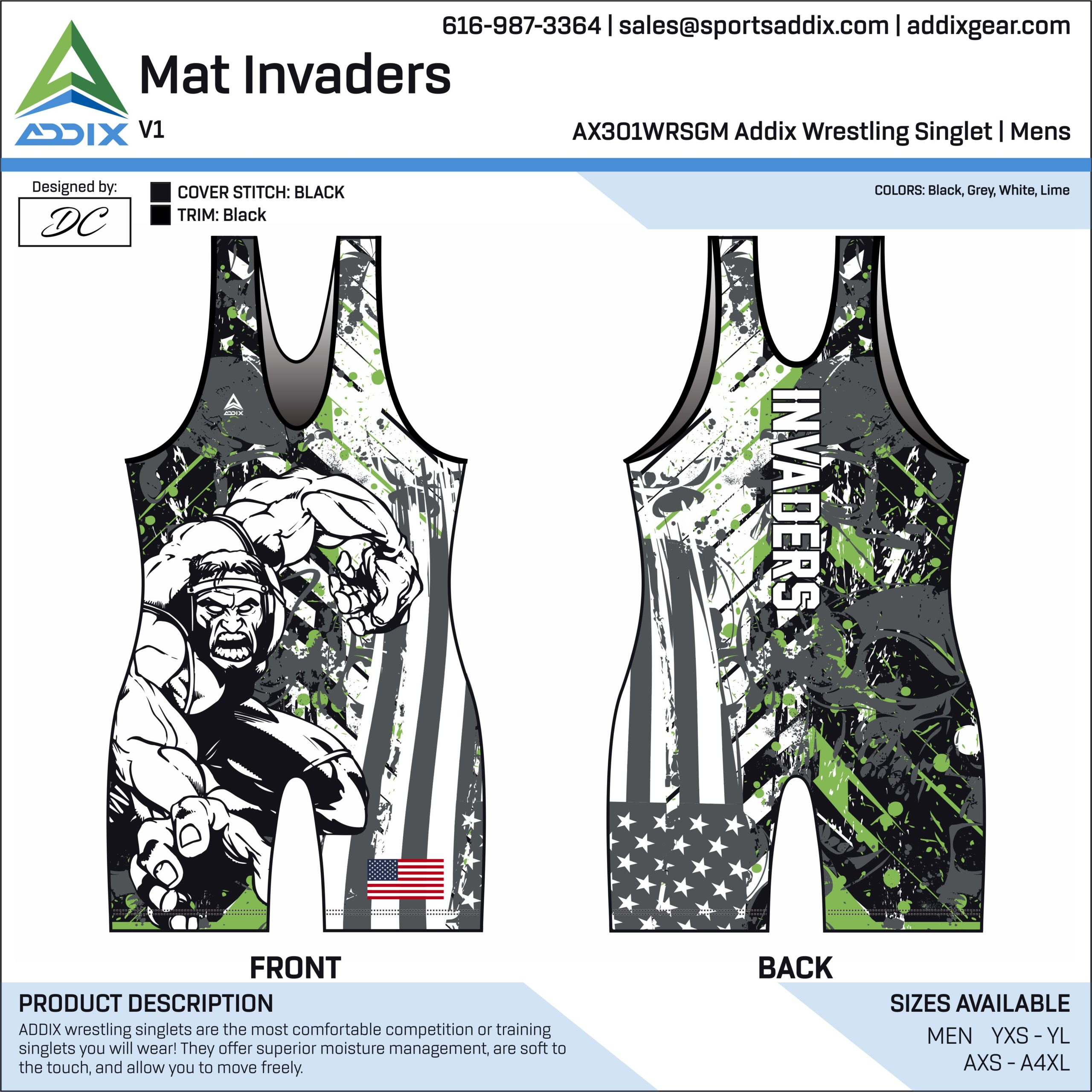 Mat Invaders Wrestling Singlet