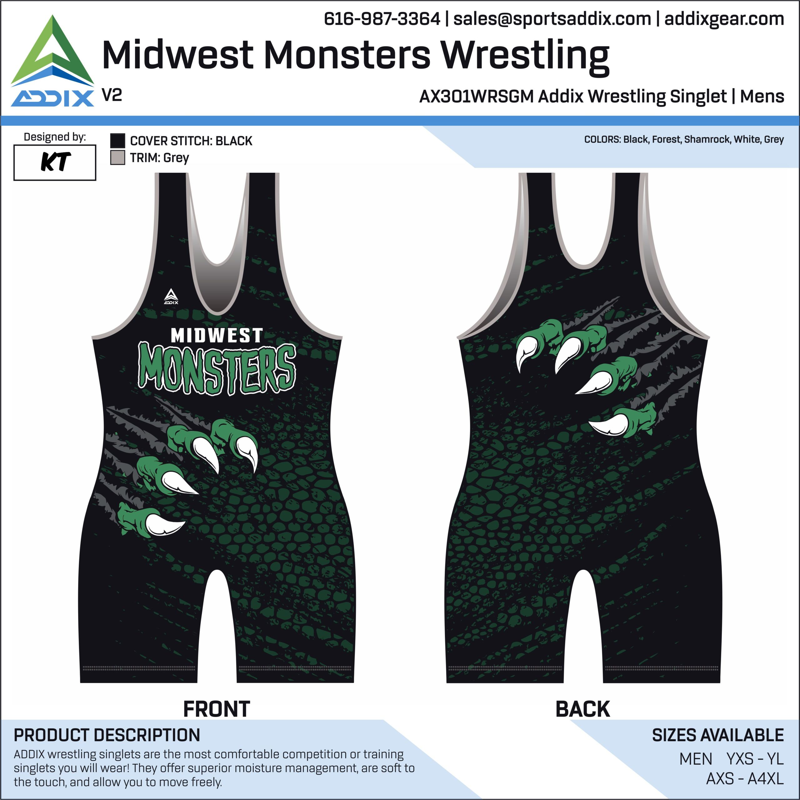 Midwest Monsters Wrestling Singlet
