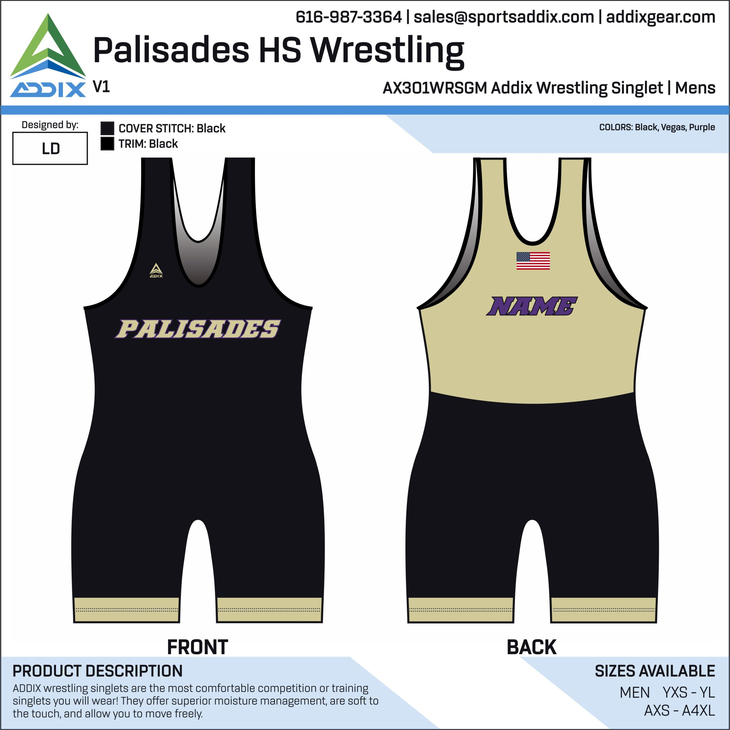 Palisades High School Wrestling Singlet
