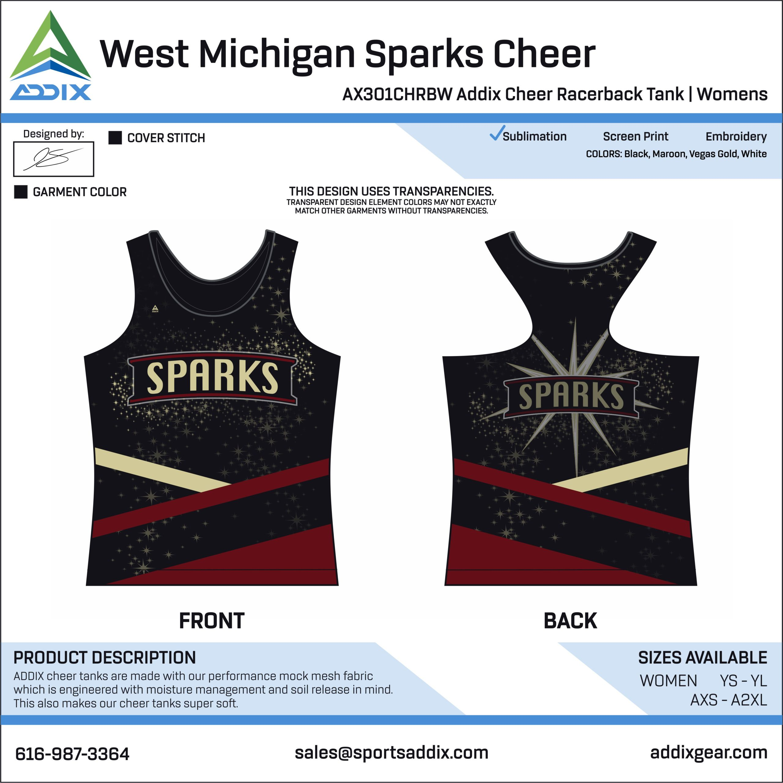 Sideline Cheer - Tank Tops_West Michigan Sparks Cheer