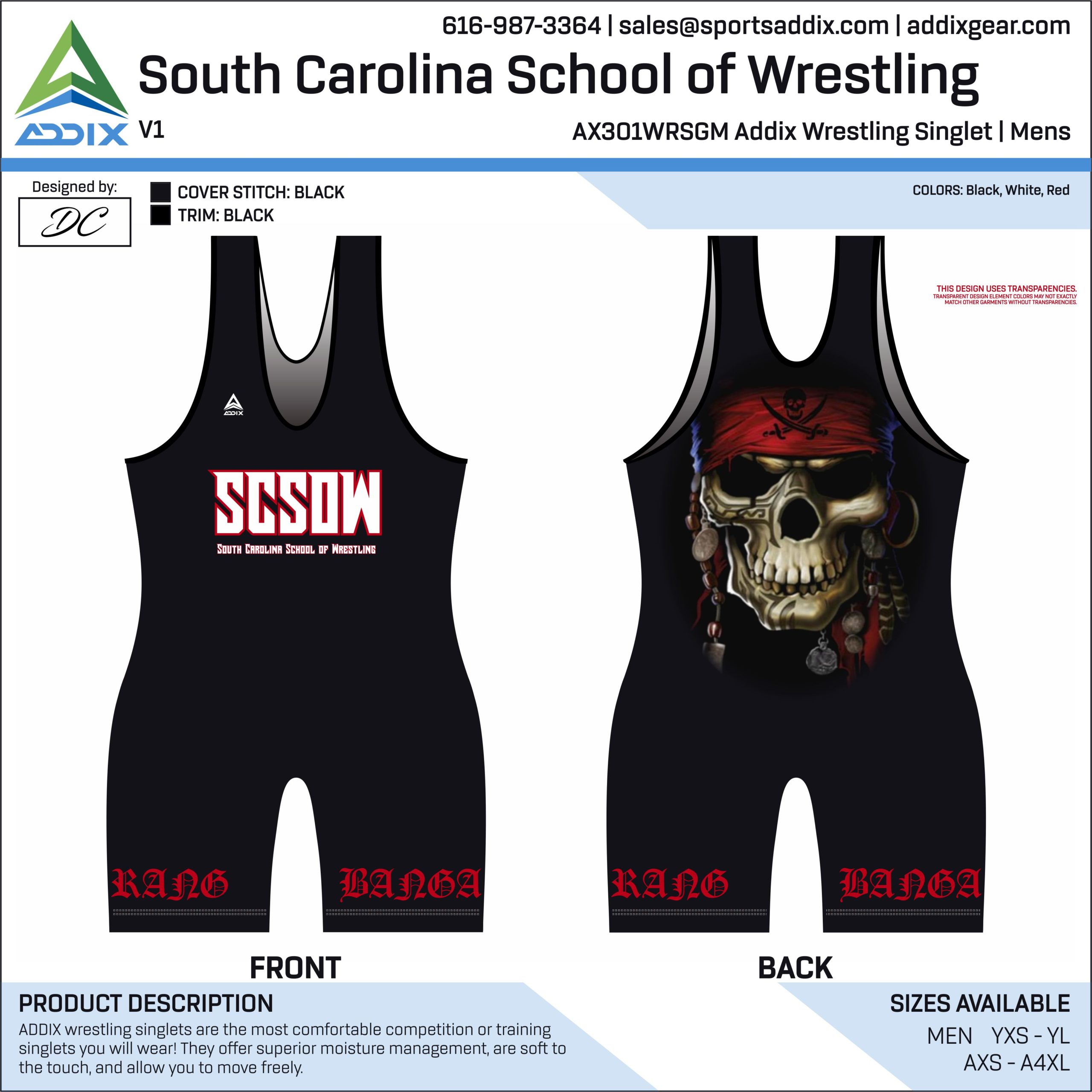 South Carolina School of Wrestling Singlet