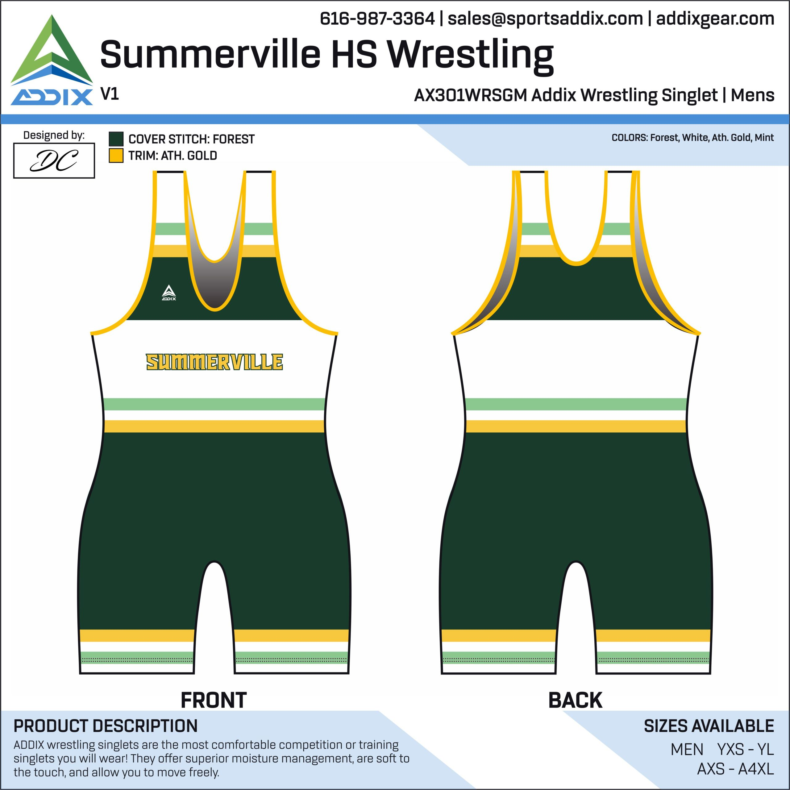 Summerville High School Wrestling Singlet