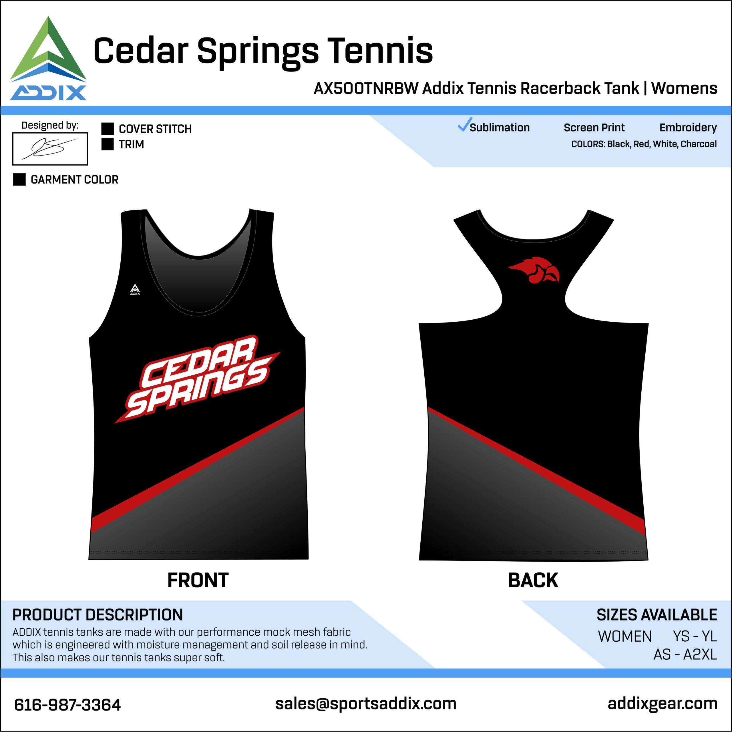 Cedar Springs High School Tennis Racerback