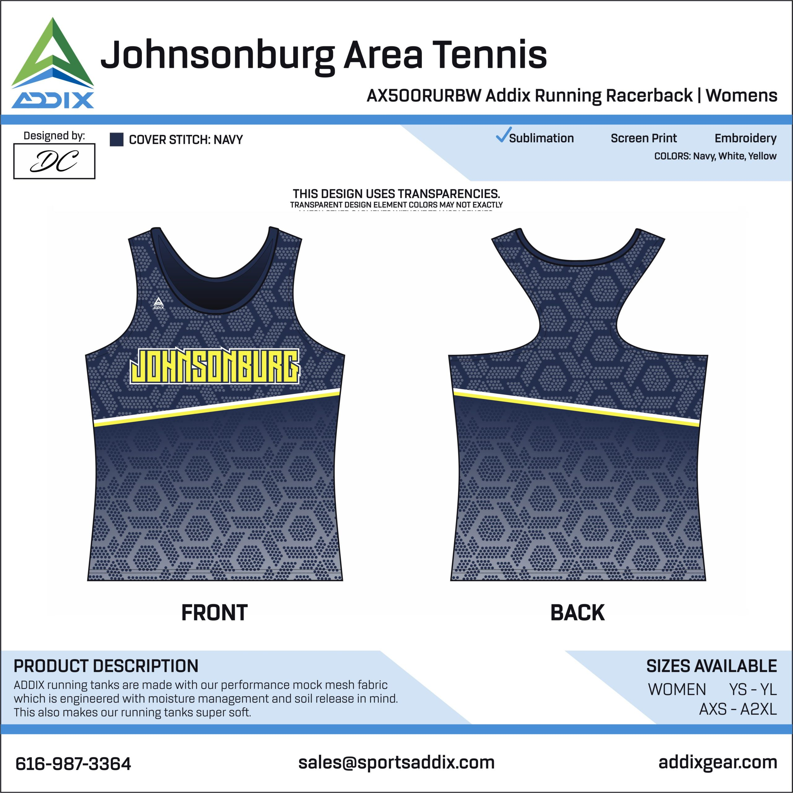 Johnsonburg Area Tennis Racerback