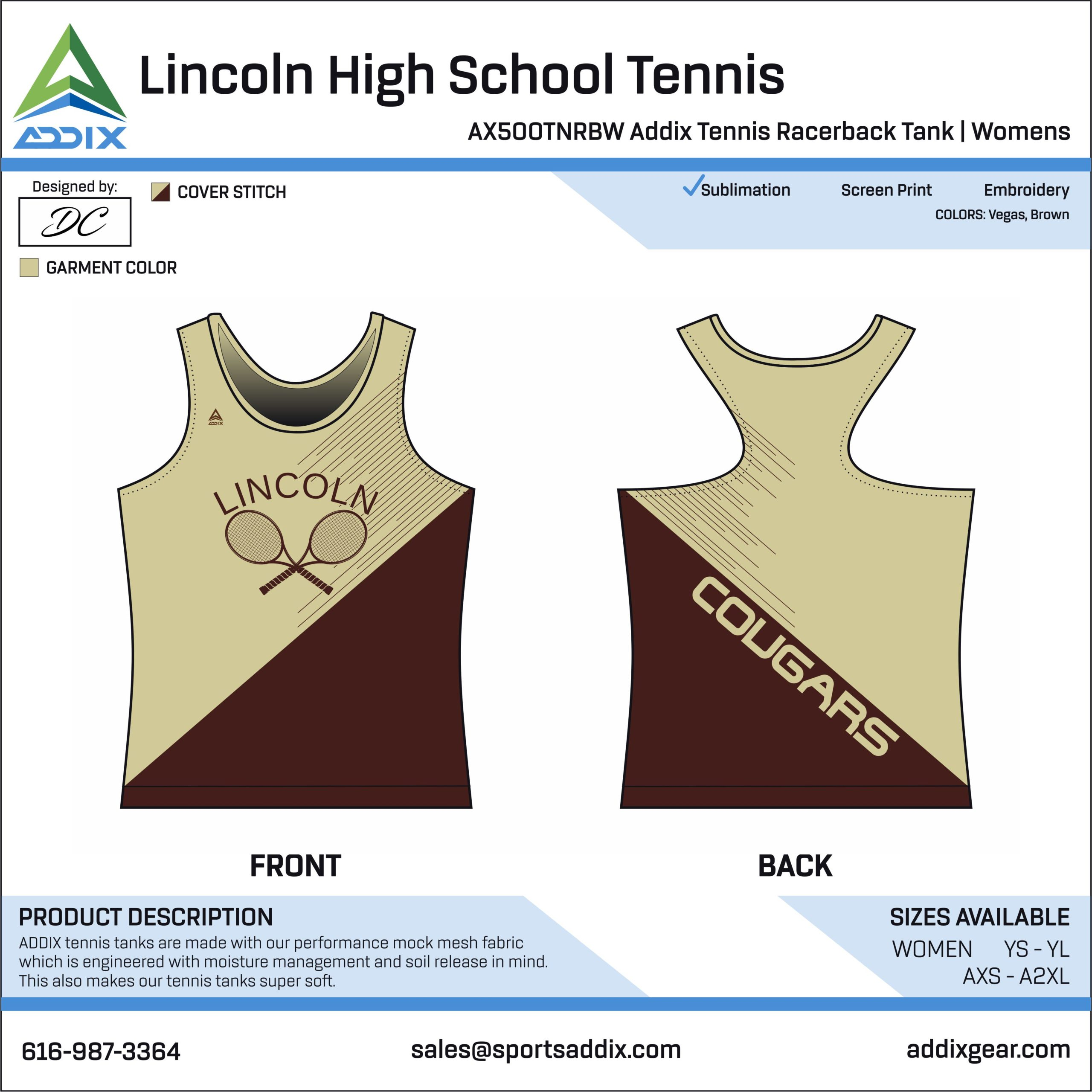 Lincoln High School Tennis Racerback