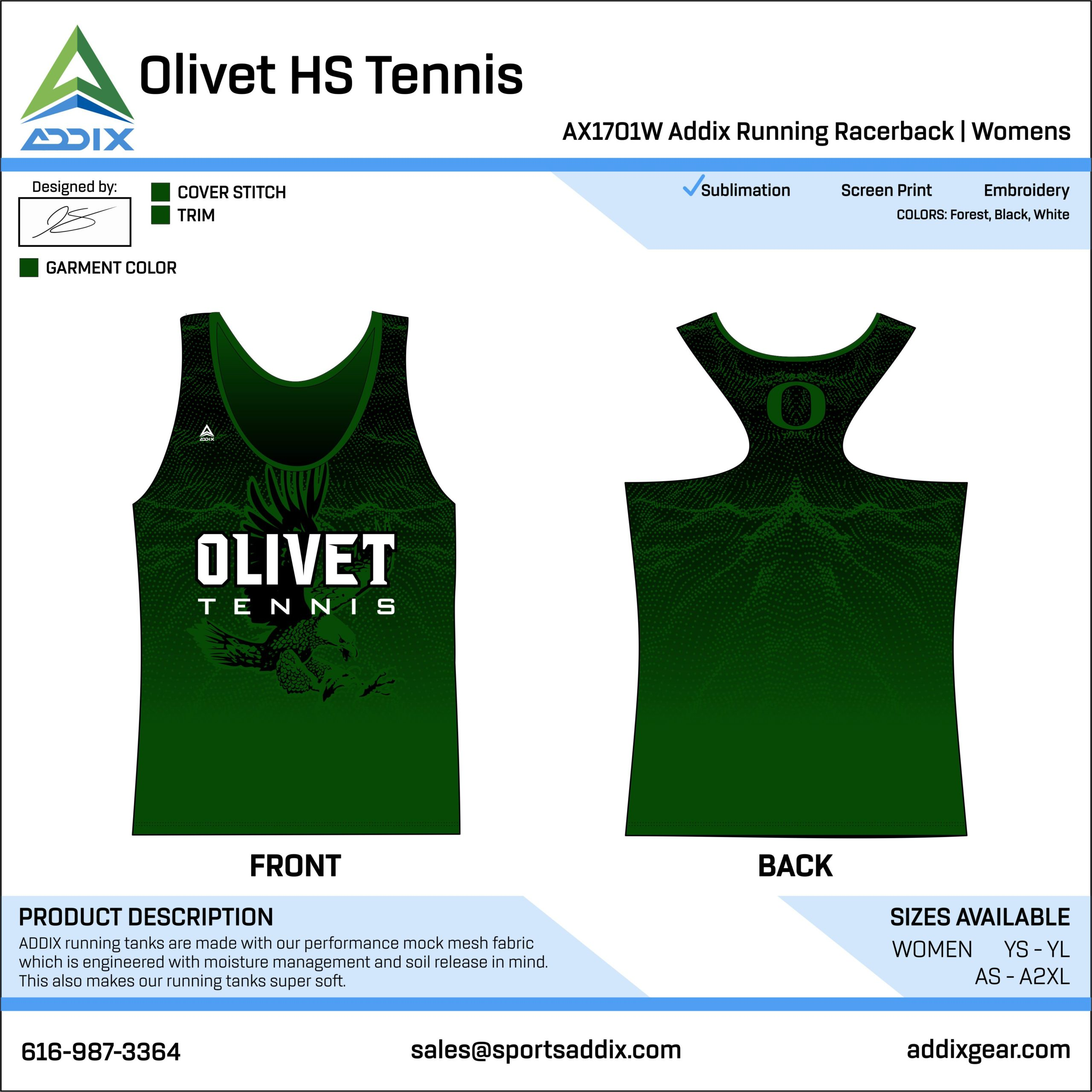 Olivet High School Tennis Racerback