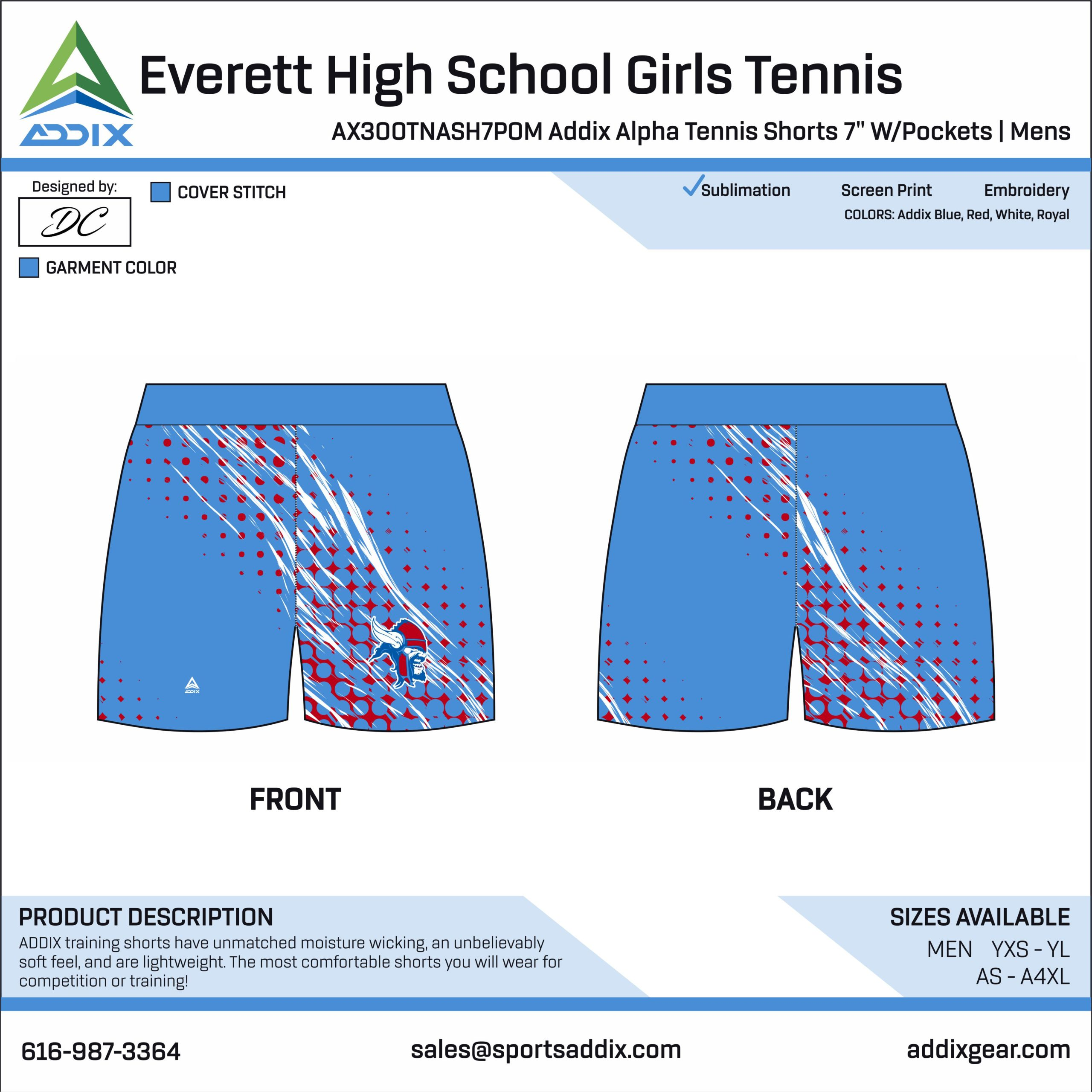 Everett High School Girls Tennis Shorts