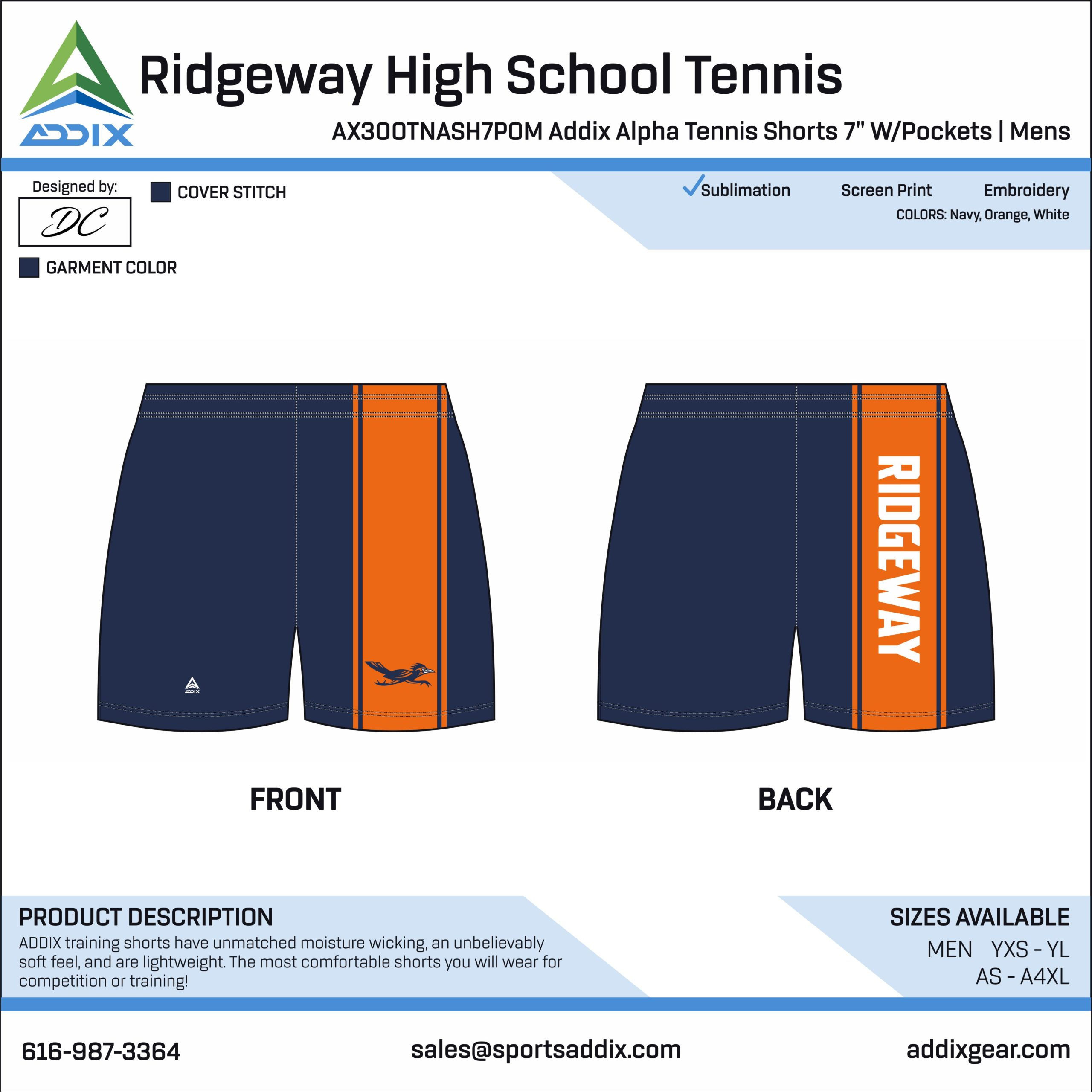 Ridgeway High School Tennis Shorts