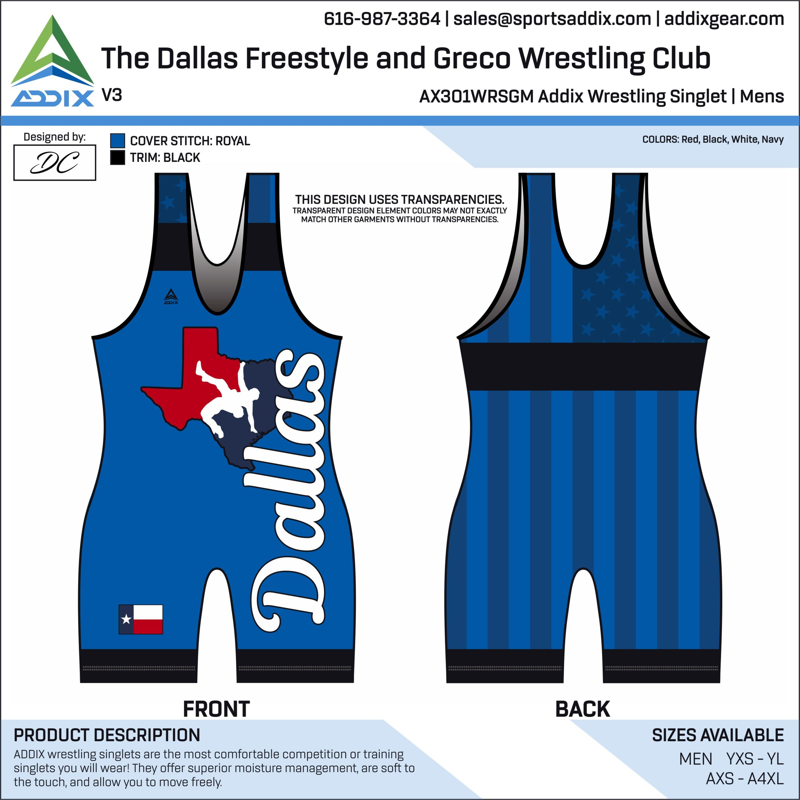 Dallas Freestyle and Greco Wrestling Club Wrestling Singlet